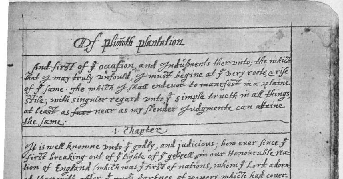 Of Plymouth Plantation: Brief Summary History