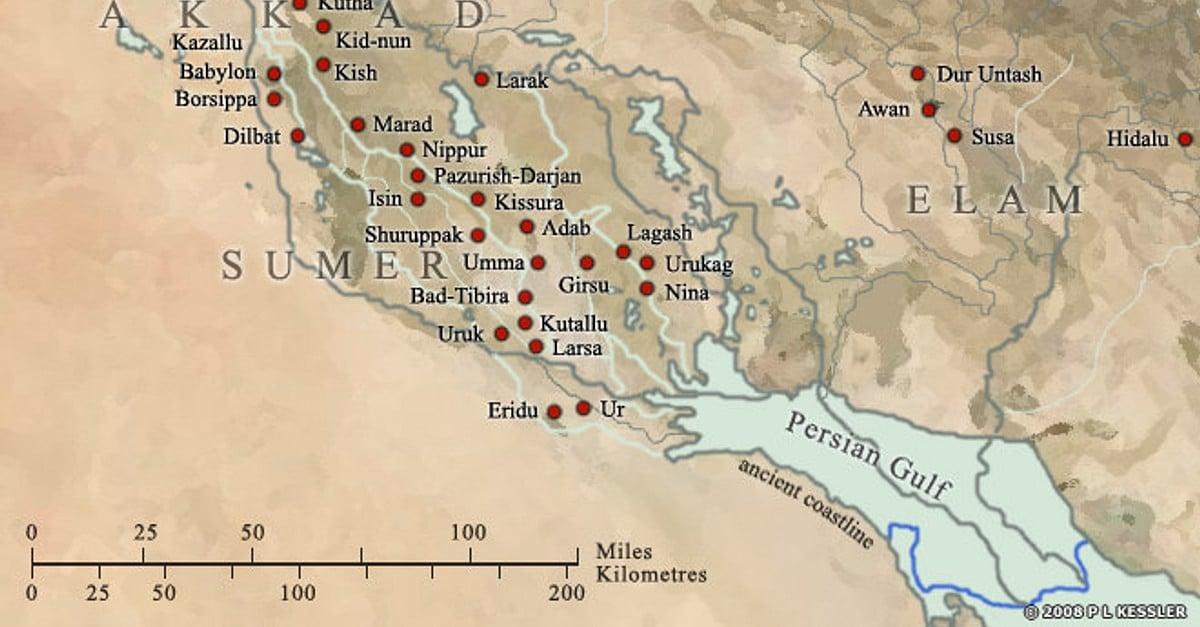 Map Of Sumer Illustration Ancient History Encyclopedia