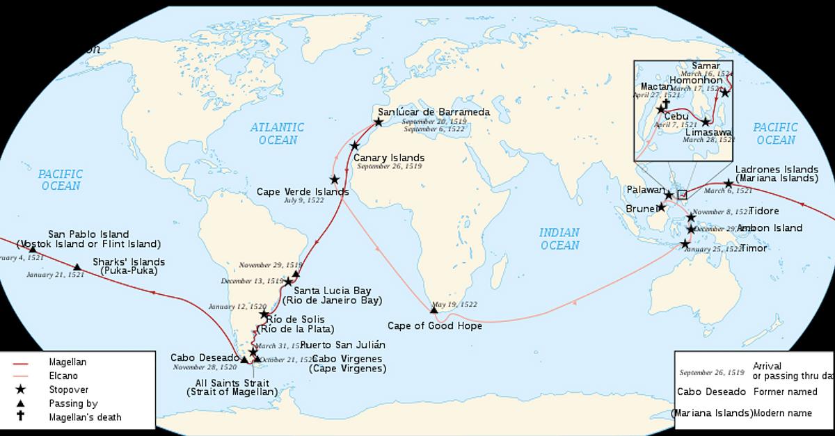 Map of Ferdinand Magellan's Circumnavigation