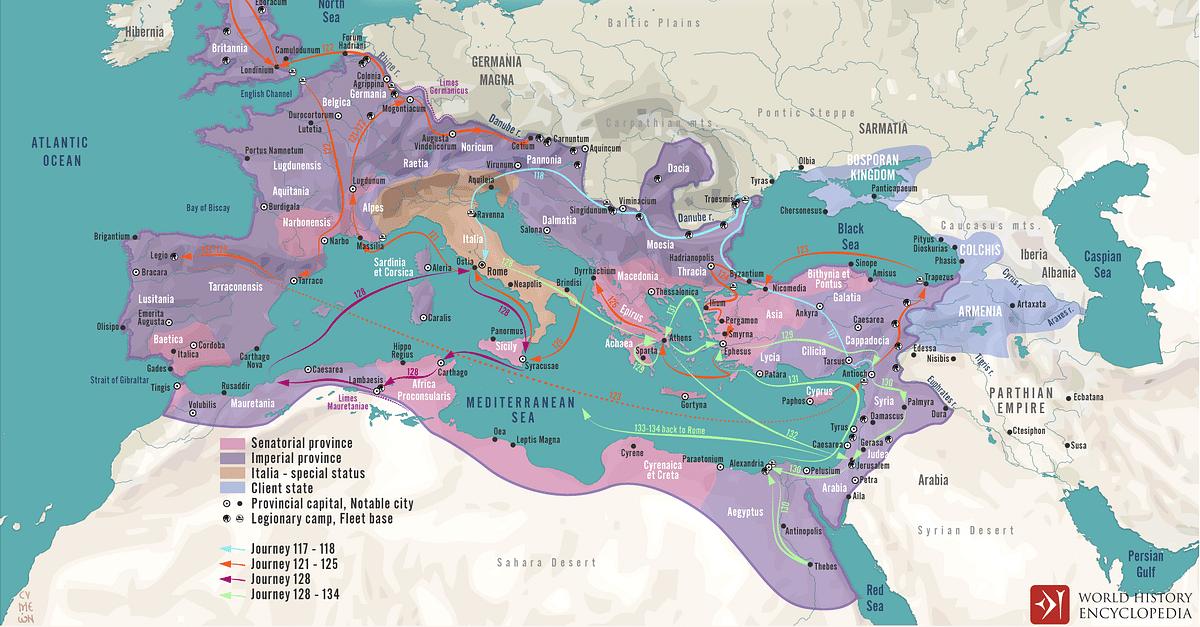 The Travels of Hadrian across the Roman Empire c. 125