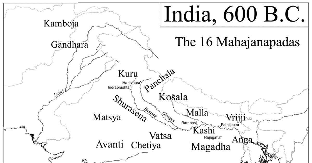 Map Of India 600 Bce Illustration Ancient History Encyclopedia