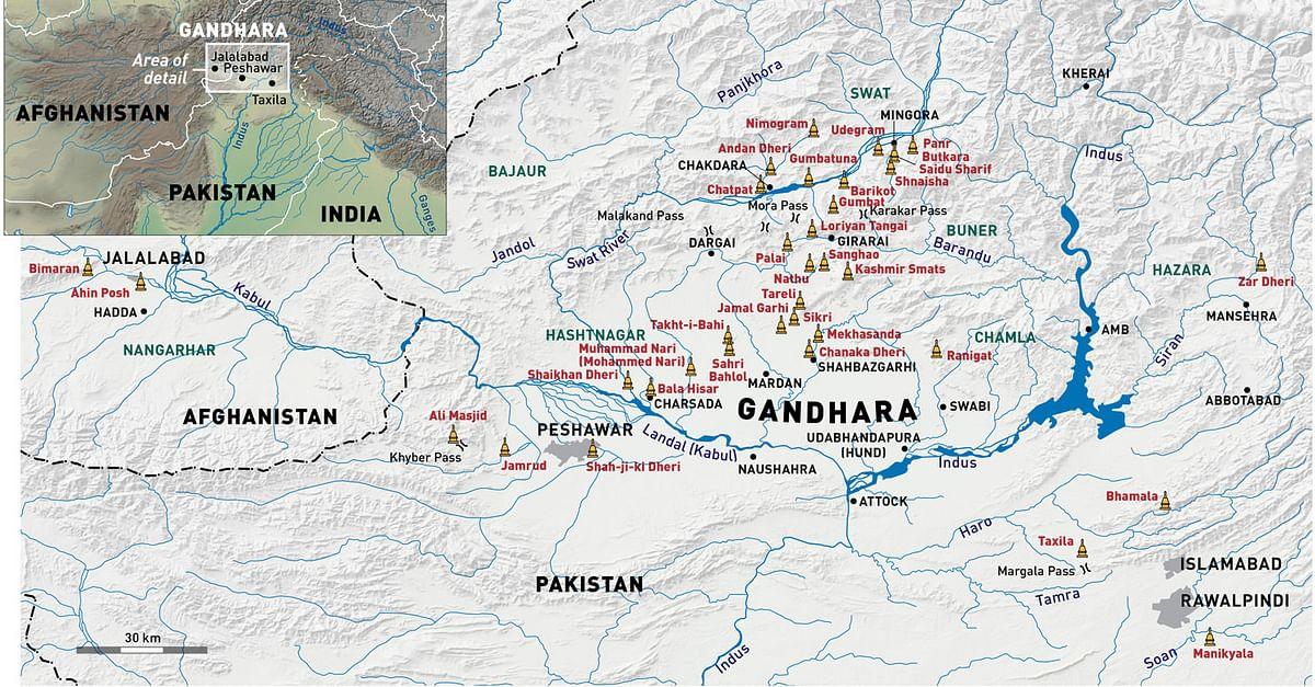 Map Of Gandhara Illustration