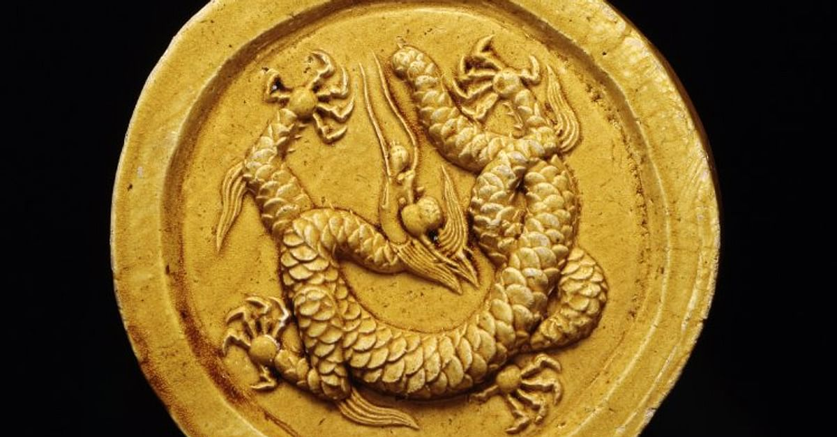 Ancient chinese gold dragon gold dragon head