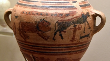 Pottery Jar Showing a Myth from Tell Zar'a