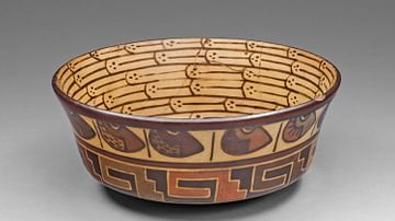 Nazca Bowl with Bean and Architectural Motifs