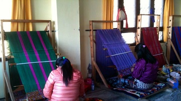 Bhutanese Women Weaving
