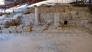 Mosaic with Welcoming Inscription in Kourion, Cyprus