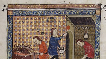Depiction of a Medieval Passover from the Rylands Haggadah