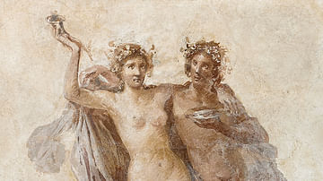 Fresco of Dionysos and Ariadne, Getty Villa