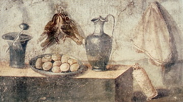 Roman Fresco with Eggs, Birds & Bronze Dishes