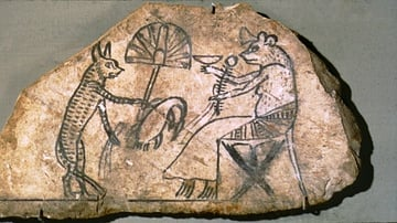 Ancient Egyptian Ink Drawing of a Cat & Mouse