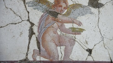 Wall Painting of a Kneeling Eros