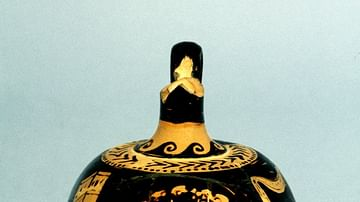Oil Bottle with Tragic Mask