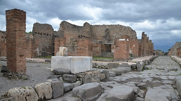 A Street in Pompeii with Stepping Stones & a Public Fountain