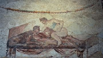 Erotic Fresco in the Lupanar of Pompeii