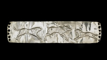 Persian Silver Plaque Depicting Hunting Dogs