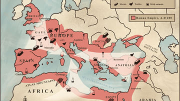 Trade in the Roman Empire Map (c. 200 CE)