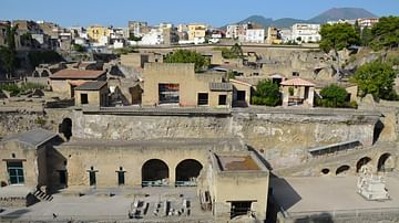 View of Herculaneum from the Seafront towards Vesuvius