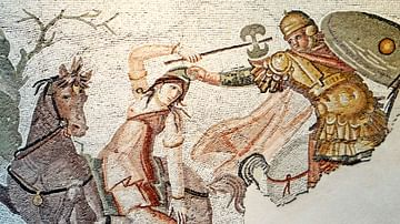 Mosaic of Amazon Warrior Fighting Greek Rider
