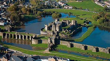 Caerphilly Castle Aerial View