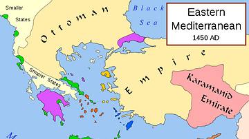 Map of Eastern Mediterranean in 1450 CE