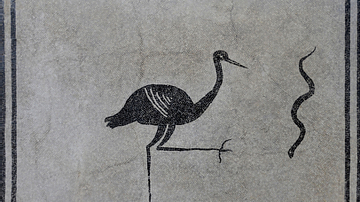 Black and White Mosaic with Stork and Snake