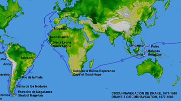 Map of Francis Drake's Circumnavigation, 1577-80 CE