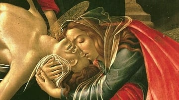 Detail of the Lamentation over the Dead Christ by Botticelli
