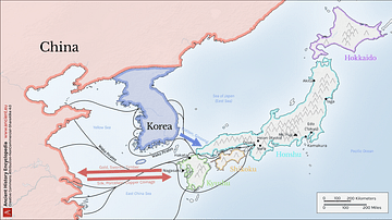 Map of Medieval Japanese Trade & Wako Pirates