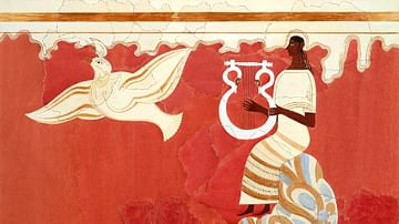 Lyre Player and Bird Fresco