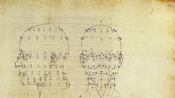 Drawing Showing Mathematical Perspective Applied to the Human Head by Piero della Francesca