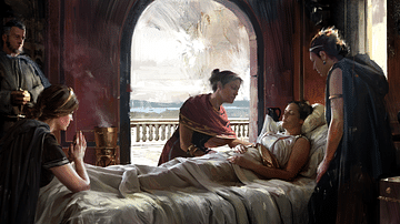 Artist's Depiction of an Ailing Woman