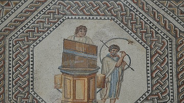 Mosaic with Organist and Horn Player