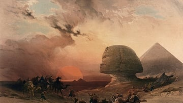 Sandstorm Approaching the Sphinx at Giza at Sunset