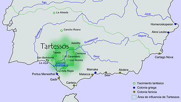Map of Tartessos with Phoenician and Greek colonies