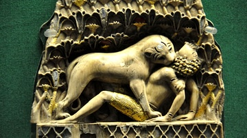Lioness Devouring a Boy, Phoenician Ivory Panel