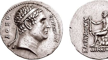 Commemorative coin of Euthydemos from Agathokles of Bactria