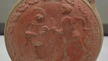 Terracotta flask with gladiators