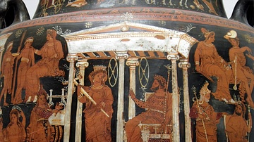 Apulian Volute Krater with Scenes of the Underworld (detail)