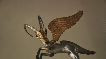 Winged Ibex Vessel Handle