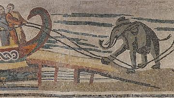 Roman Mosaic Showing the Transport of an Elephant