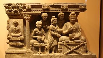 Gandhara Relief of Buddha Eating with Monks