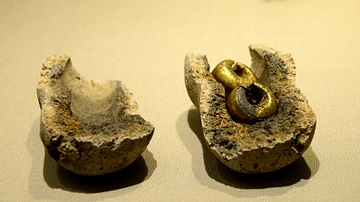 Gold Foil-covered Lead Bulla from ancient Ireland