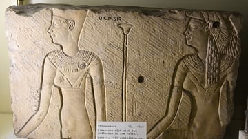 Ptolemaic Slab with Two Goddesses