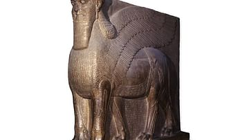 Colossal statue of a winged lion from the North-West Palace of Ashurnasirpal II