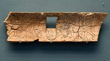 Nimrud Ivory Panel of Two Lionesses