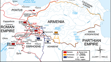 Map of the Roman-Parthian War, 61-63 CE