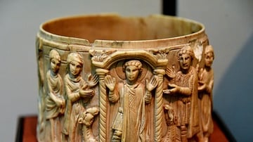 Ivory Pyxis Depicting Saint Menas