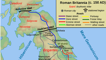 Map of Roman Britain, 150 AD