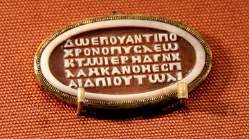 Sardonyx Cameo Showing Nonsense Greek Inscription